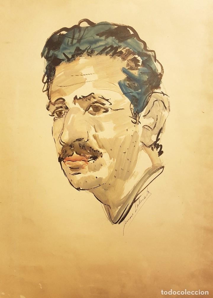 GENÁRO LAHUERTA LÓPEZ (VALENCIA, 1905-1985) 3 RETRATOS DE AMÉRIGO, ACUARELA / PAPEL 51 X 37 (Arte - Acuarelas - Contemporáneas siglo XX)