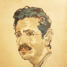 Arte: GENÁRO LAHUERTA LÓPEZ (VALENCIA, 1905-1985) 3 RETRATOS DE AMÉRIGO, ACUARELA / PAPEL 51 X 37. Lote 178363210
