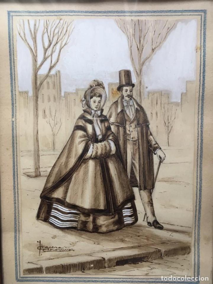 Arte: Escena costumbrista con pareja obra de JOSE CLAPERA COROMINAS - Foto 3 - 178570716