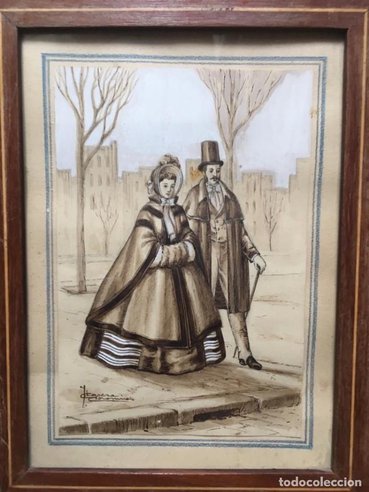 Arte: Escena costumbrista con pareja obra de JOSE CLAPERA COROMINAS - Foto 4 - 178570716