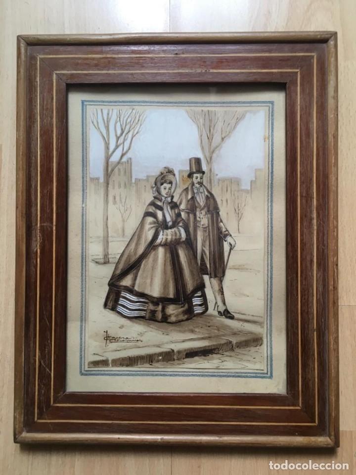 Arte: Escena costumbrista con pareja obra de JOSE CLAPERA COROMINAS - Foto 6 - 178570716