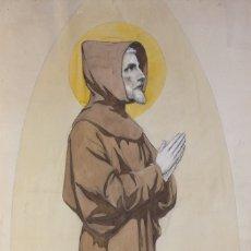 Arte: ACUARELA Y GOAUCHE SOBRE PAPEL SAN FRANCISCO DE ASÍS 1911 . Lote 178608146