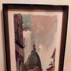 Arte: EXCEPCIONAL PINTURA. ACUARELA. VISTA DE LA CALLE COLEGIATA DE MADRID EN 1965. MANUEL VICENTE MORA. . Lote 178845616