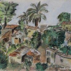 Arte: ACUARELA Y CARBONCILLO SOBRE PAPEL FAVELAS EN LA SELVA A MEDIADOS SIGLO XX. Lote 178900276