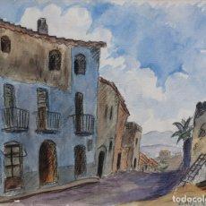 Arte: ACUARELA Y CARBONCILLO SOBRE PAPEL CALLE DE PUEBLO FIRMADO J.MUSONS 1941. Lote 178900281