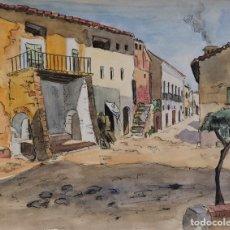 Arte: ACUARELA Y CARBONCILLO SOBRE PAPEL CALLE DE PUEBLO FIRMADO J.MUSONS 1941. Lote 178900286