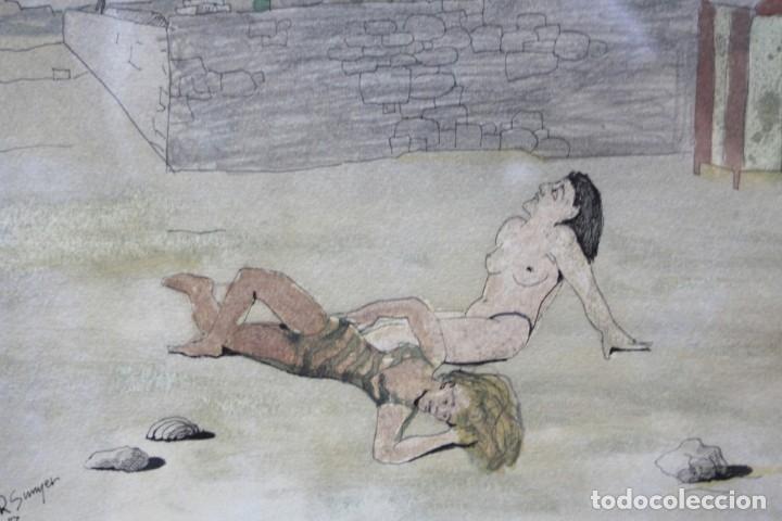 Arte: Raimon Sunyer, dibujo técnica mixta, 1987, acuarela y rotulador, personajes y casas, con marco. - Foto 2 - 178928030