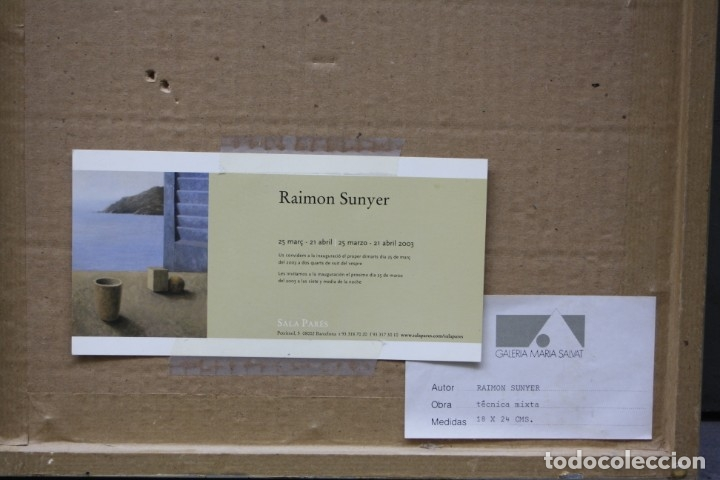 Arte: Raimon Sunyer, dibujo técnica mixta, 1987, acuarela y rotulador, personajes y casas, con marco. - Foto 4 - 178928030