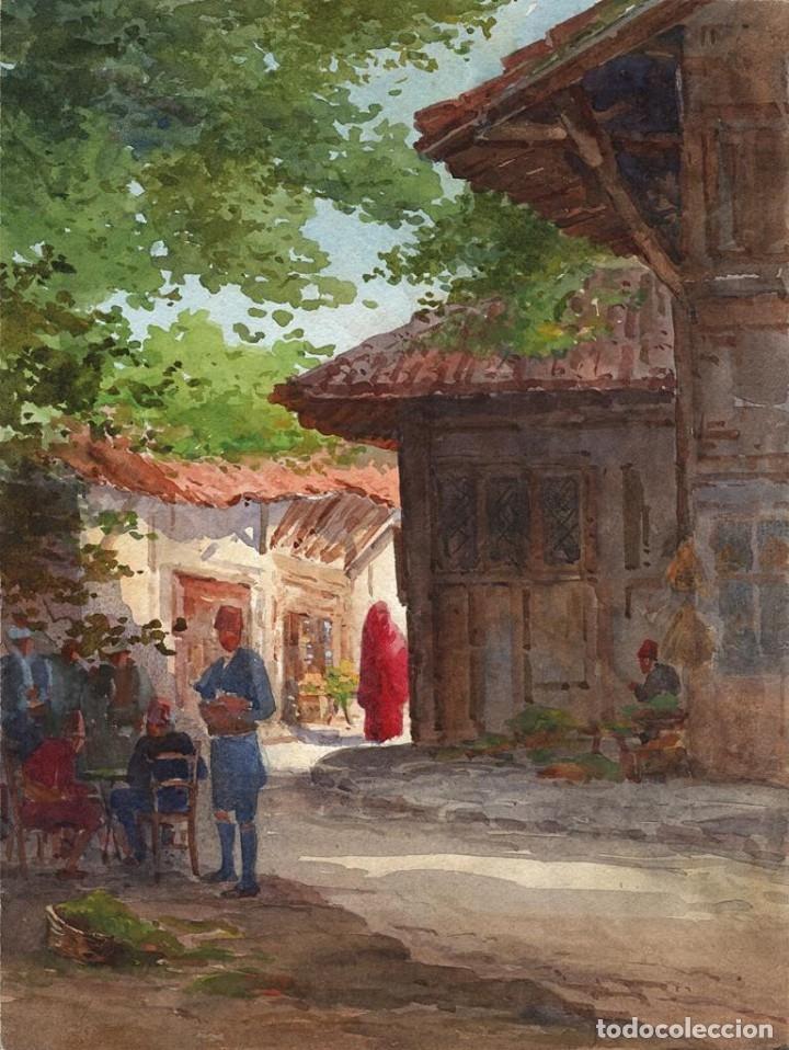 ACUARELA ORIENTALISTA CIRCA 1900 (Arte - Acuarelas - Contemporáneas siglo XX)