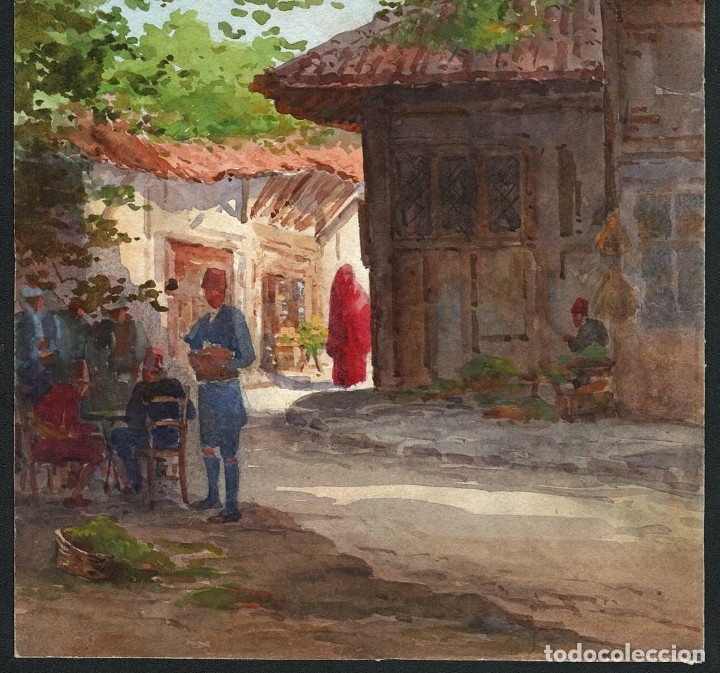 Arte: Acuarela Orientalista Circa 1900 - Foto 4 - 178929346
