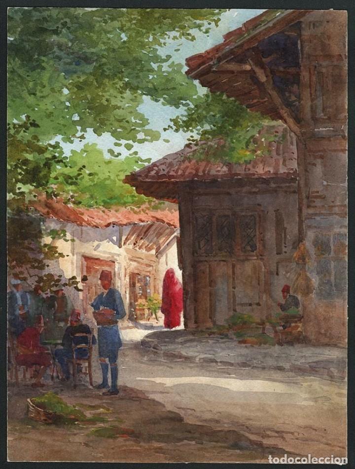 Arte: Acuarela Orientalista Circa 1900 - Foto 6 - 178929346