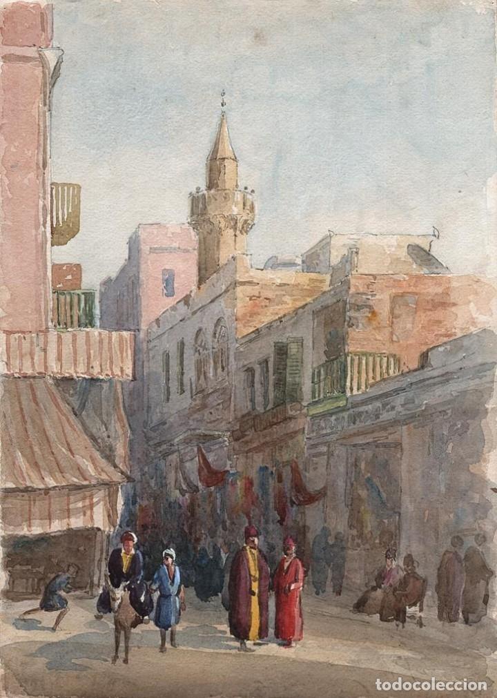 ACUARELA ANTIGUA ESCENA EGIPTO CIRCA 1900 (Arte - Acuarelas - Contemporáneas siglo XX)