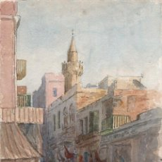 Arte: ACUARELA ANTIGUA ESCENA EGIPTO CIRCA 1900. Lote 178929843