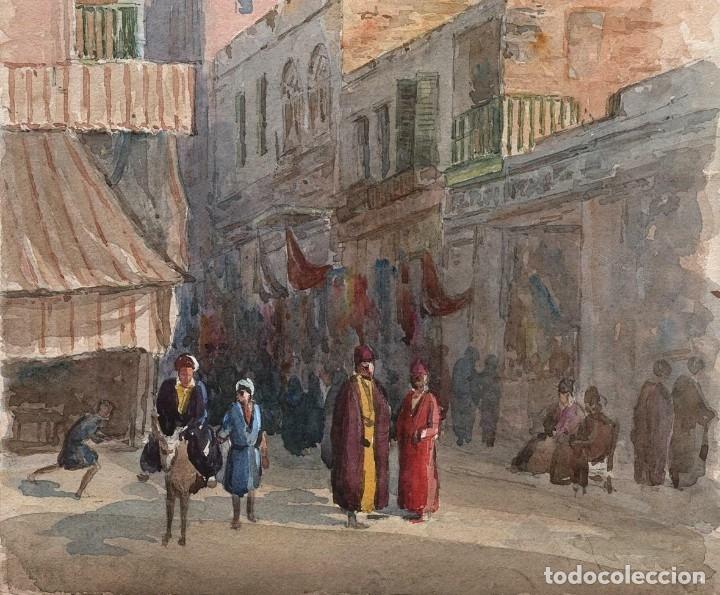 Arte: Acuarela Antigua Escena Egipto Circa 1900 - Foto 2 - 178929843