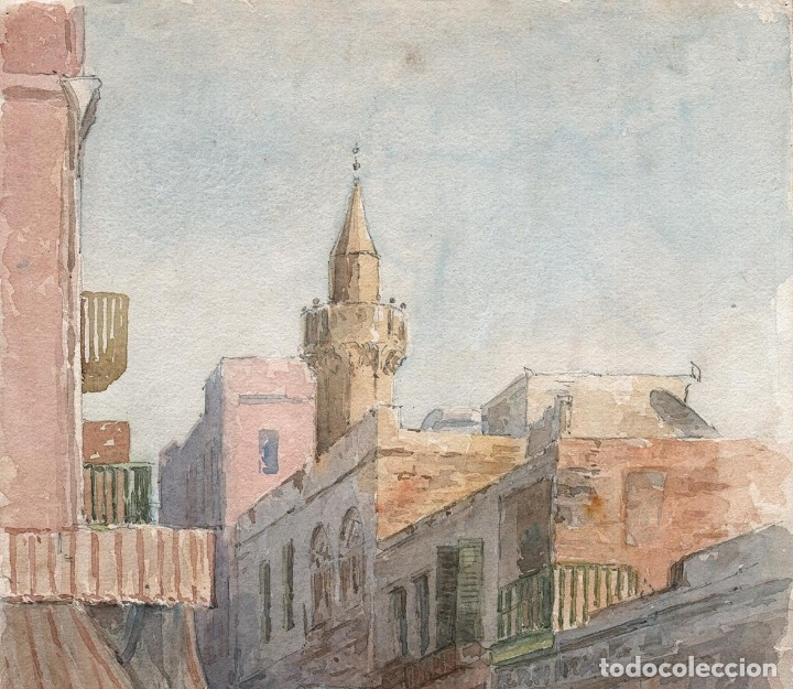 Arte: Acuarela Antigua Escena Egipto Circa 1900 - Foto 3 - 178929843