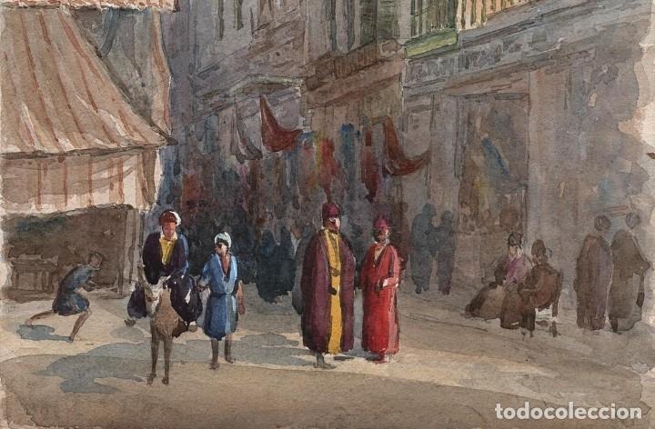 Arte: Acuarela Antigua Escena Egipto Circa 1900 - Foto 4 - 178929843