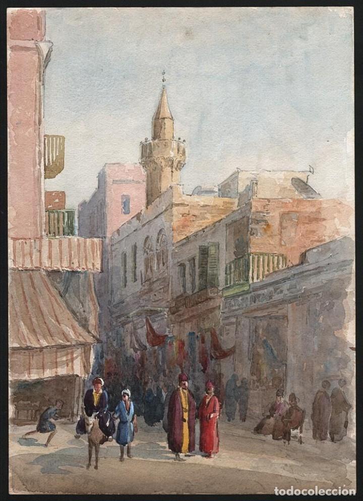 Arte: Acuarela Antigua Escena Egipto Circa 1900 - Foto 5 - 178929843