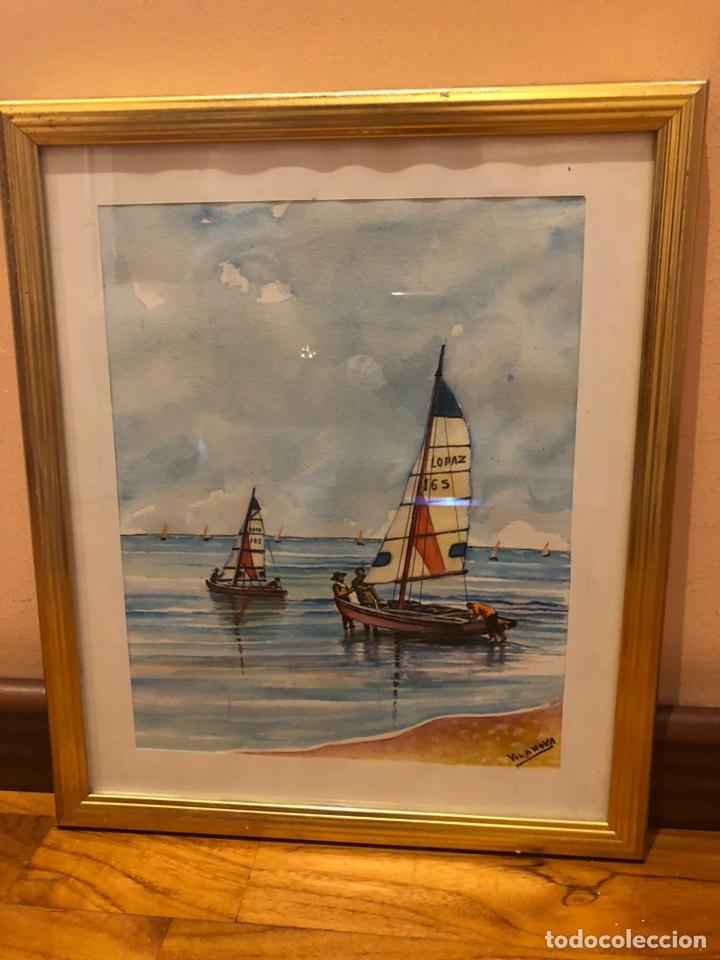 Arte: 2 acuarelas marinas con firma - Foto 3 - 178981087