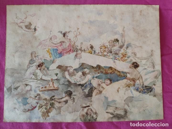 ACUARELA BOCETO ALEGORÍA DEL COMERCIO, FIRMADO WSSEL - 1000-005 (Arte - Acuarelas - Modernas siglo XIX)