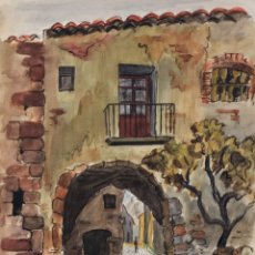 Arte: ACUARELA Y CARBONCILLO SOBRE PAPEL ENTRADA DE PUEBLO FIRMADO J.MUSONS 1942. Lote 179078765