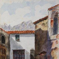 Arte: ACUARELA Y CARBONCILLO SOBRE PAPEL ENTRADA DE PUEBLO FIRMADO J.MUSONS MEDIADOS SIGLO XX. Lote 179078772