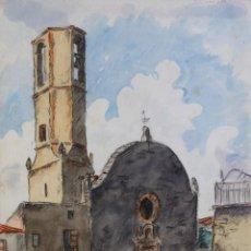 Arte: ACUARELA Y CARBONCILLO SOBRE PAPEL VISTA INTERIOR PUEBLO FIRMADO MUSONS 1941. Lote 179078775