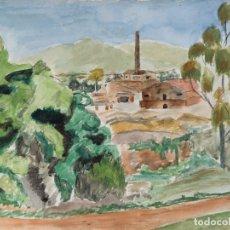 Arte: ACUARELA Y CARBONCILLO SOBRE PAPEL LA BÒVILA D'HORTA FIRMADO MUSONS 1940. Lote 179078785