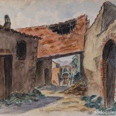 Arte: ACUARELA Y CARBONCILLO SOBRE PAPEL CALLE DE PUEBLO MEDIADOS SIGLO XX. Lote 179078862