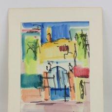 Arte: EMILI BOSCH ROGER (1894 - 1980), CASA, TÉCNICA MIXTA, ACUARELA Y ROTULADOR, FIRMADO. 34X23,5CM. Lote 179141892