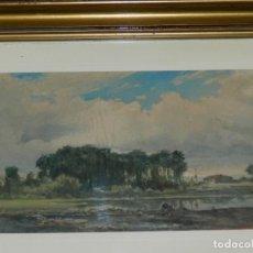 Arte: (M) ÓLEO DE JOSEP BERGA BOIX - PAISAJE ESPAÑOL, 22X12 CM, ENMARCADO 32X23 CM. Lote 179232530