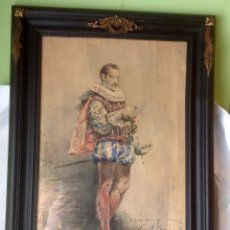 Arte: ANTIGUA ACUARELA VICENTE MONTESINOS 1892 , RETRATO DE SU AMIGO DRAMATURGO MORALES SAN MARTIN . Lote 179325232