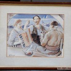 Arte: ALBERT ROCA (PALAMÓS, 1945), PESCADORES CANTANDO, 1982, ACUARELA, CON MARCO. 40X31CM. Lote 179394980