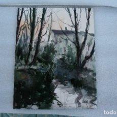 Arte: JOSÉ ESTELLÉS, (1929-2005) ESTUPENDA ACUARELA SOBRE CARTON DURO, PAISAJE. 33 X 25,5. Lote 180114440