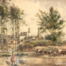 Arte: JOAN COLOM AGUSTÍ (1879 - 1969) ACUARELA SOBRE PAPEL DEL AÑO 1954. GIRONA CON LA CATEDRAL DE FONDO. Lote 180474575