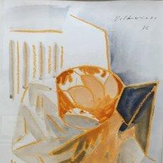 Arte: ANTONIO VALDIVIESO (1918-2000). ACUARELA/PAPEL 33 X 24 CM. BODEGÓN. CUBISMO. FIRMADA Y FECHADA 1975.. Lote 180501965