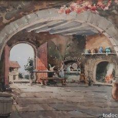 Arte: JOSÉ OLIVÉ GÓMEZ (BARCELONA, 1944) - INTERIOR DE MASÍA CATALANA.ACUARELA.FIRMADA.1985.. Lote 180855427