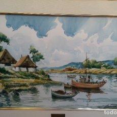 Arte: MAGNÍFICA ACUARELA FIRMADA CHICHARRO 1983 (TOMÁS CHICHARRO) LUJOSO ENMARCADO PERFECTO ESTADO. Lote 180908835