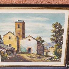 Arte: ACUARELA IGLESIA PUEBLO P.COLOMER. Lote 180949145