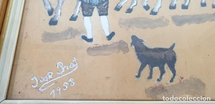 Arte: ESCENA COSTUMBRISTA. ACUARELA SOBRE PAPEL. JOSE PRAT. 1958. - Foto 11 - 180992502