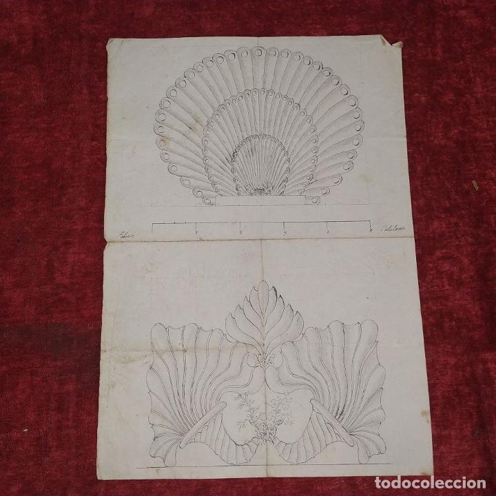 Arte: ORNAMENTOS NEOCLASICOS. ACUARELA Y TINTA SOBRE PAPEL. ESPAÑA. FIN XVIII - Foto 2 - 181019160