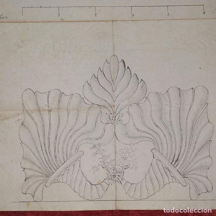 Arte: ORNAMENTOS NEOCLASICOS. ACUARELA Y TINTA SOBRE PAPEL. ESPAÑA. FIN XVIII - Foto 6 - 181019160