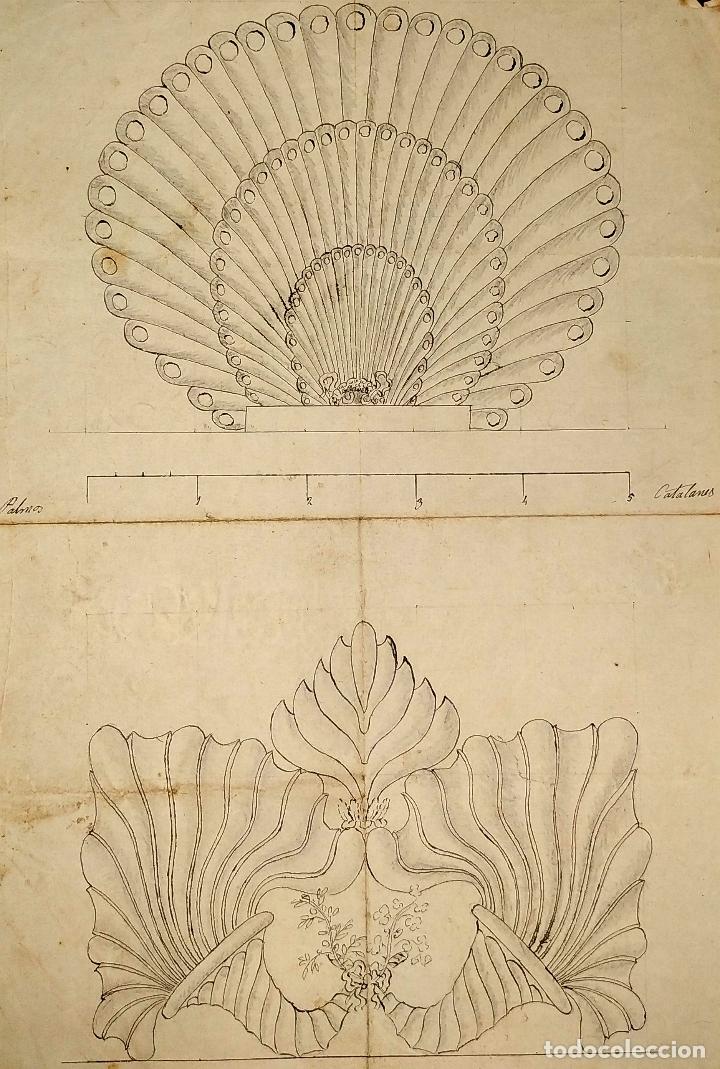 ORNAMENTOS NEOCLASICOS. ACUARELA Y TINTA SOBRE PAPEL. ESPAÑA. FIN XVIII (Arte - Acuarelas - Antiguas hasta el siglo XVIII)