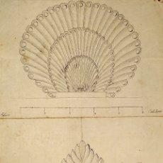 Arte: ORNAMENTOS NEOCLASICOS. ACUARELA Y TINTA SOBRE PAPEL. ESPAÑA. FIN XVIII. Lote 181019160
