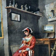 Arte: ESCUELA ITALIANA DE FINALES DEL SIGLO XIX. ACUARELA SOBRE PAPEL. FIRMADO CON INICIALES. GRAN CALIDAD. Lote 181024213