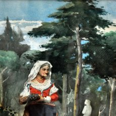 Arte: ESCUELA ESPAÑOLA DE FINALES DEL SIGLO XIX. ACUARELA SOBRE PAPEL. FIRMADO CON INICIALES. GRAN CALIDAD. Lote 181024307