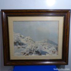 Arte: ACUARELA DE FRANCISCO BONNIN MIRANDA(TENERIFE 1911-1963).PAISAJE NEVADO CON EL TEIDE AL FONDO.. Lote 181157763
