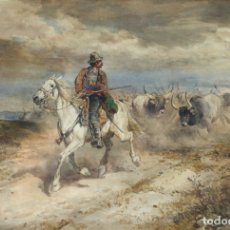 Arte: HENRY COLEMAN (1846-1911) PASTOR A CABALLO Y BUEYES, ACUARELA 36X54 CM. MARCO: 83X66 CM.. Lote 181546367