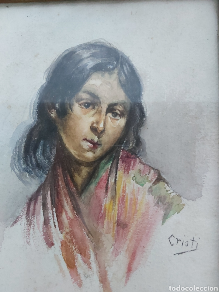 Arte: ANTIGUA ACUARELA FIRMADA CRISTI CON MARCO DORADO - Foto 2 - 181943453