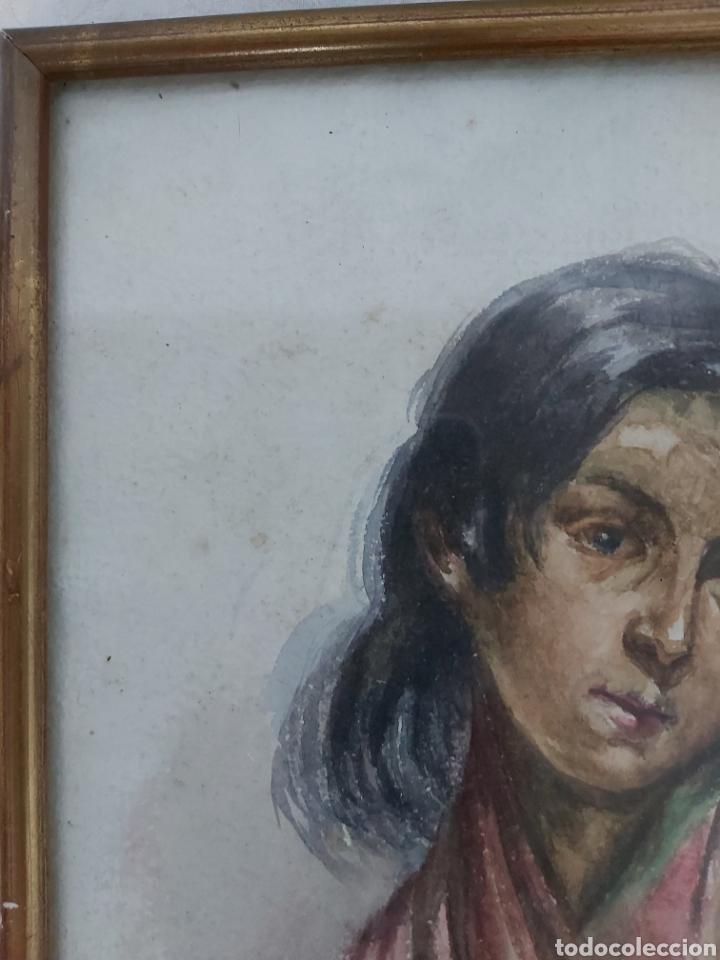 Arte: ANTIGUA ACUARELA FIRMADA CRISTI CON MARCO DORADO - Foto 4 - 181943453