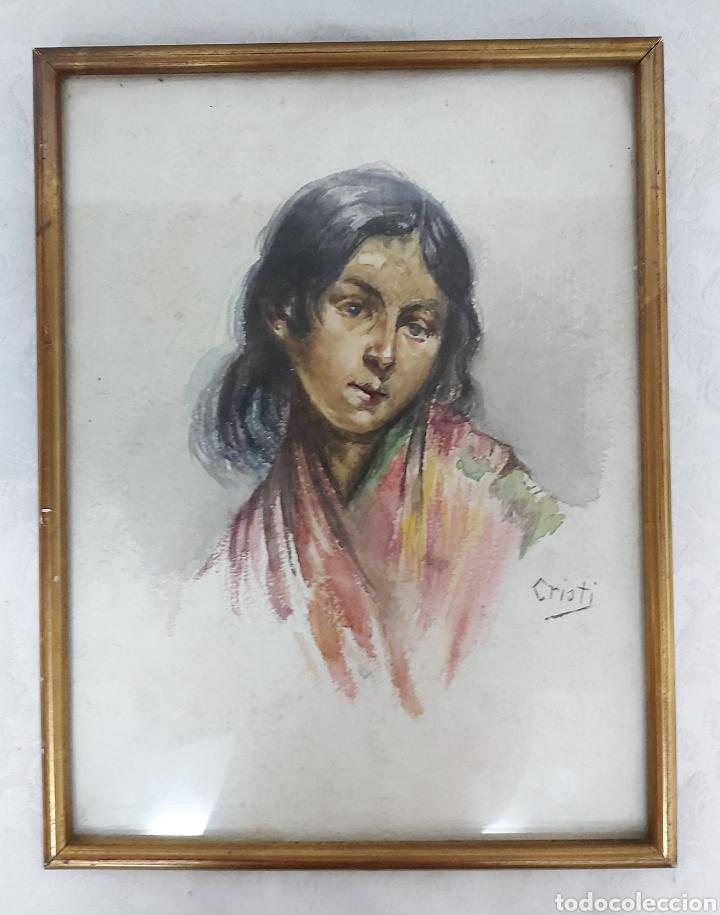ANTIGUA ACUARELA FIRMADA CRISTI CON MARCO DORADO (Arte - Acuarelas - Contemporáneas siglo XX)